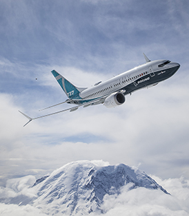 Boeing 737 MAX 7 aircraft in flight.